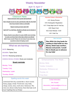 Weekly Newsletter April 13- April 17 Classroom News