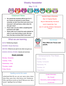 Weekly Newsletter May 11-15 Classroom News