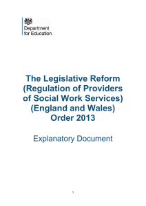The Legislative Reform (Regulation of Providers of Social Work Services) (England and Wales)