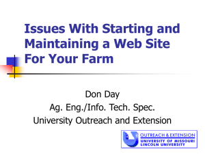 Issues With Starting and Maintaining a Web Site For Your Farm Don Day