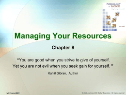 "Managing Your Resources Chapter 8 "" """