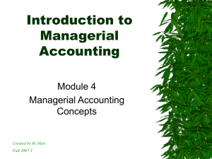Introduction to Managerial Accounting Module 4
