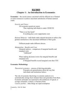 Eco 2013 Chapter 1:  An Introduction to Economics