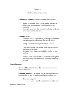 Chapter 2 Economizing problem  The Foundation of Economics