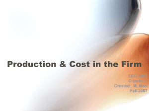 Production & Cost in the Firm ECO 2013 Chapter 7