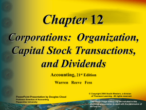 Chapter Corporations:  Organization, Capital Stock Transactions, and Dividends