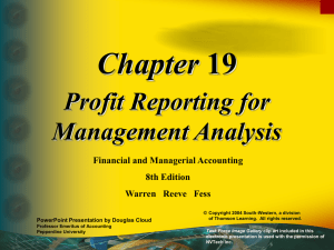 Chapter Profit Reporting for Management Analysis Financial and Managerial Accounting