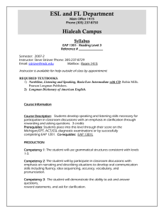 ESL and FL Department  Hialeah Campus Syllabus
