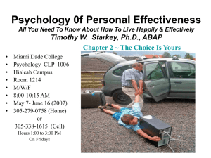 Psychology 0f Personal Effectiveness Timothy W.  Starkey, Ph.D., ABAP