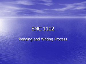 ENC 1102 Reading and Writing Process