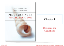Chapter 4 Decisions and Conditions McGraw-Hill