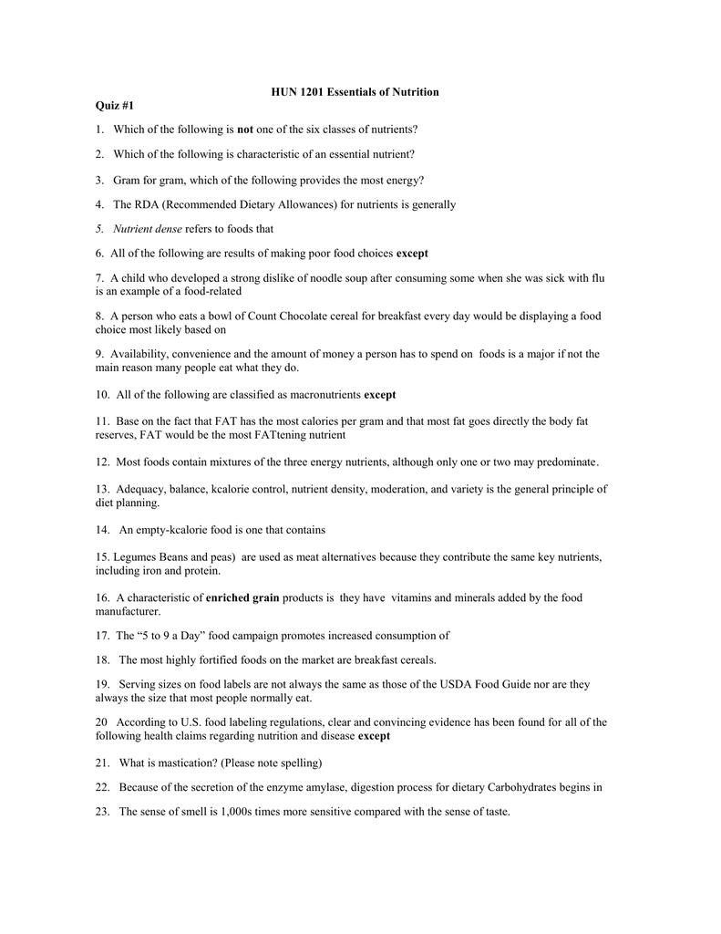 HUN 1201 Essentials of Nutrition Quiz #1 not