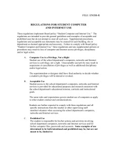 FILE: IJNDB-R  REGULATIONS FOR STUDENT COMPUTER AND INTERNET USE