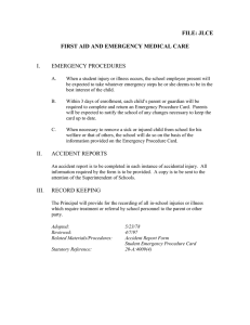 FILE: JLCE FIRST AID AND EMERGENCY MEDICAL CARE  I.
