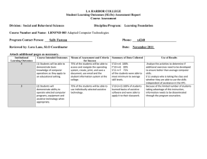LA HARBOR COLLEGE Student Learning Outcomes (SLOs) Assessment Report Course Assessment