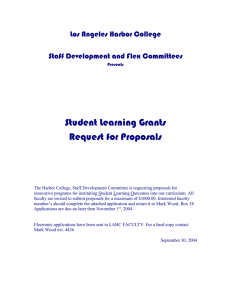 Student Learning Grants Request for Proposals  Los Angeles Harbor College