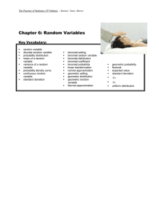 Chapter 6: Random Variables  Key Vocabulary: