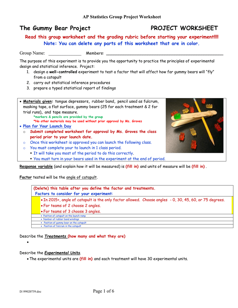 worksheet Gummy Bear Experiment Worksheet the gummy bear project worksheet ap statistics group worksheet