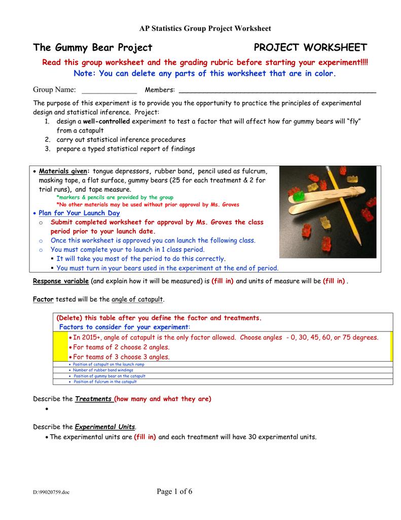 Ap stats gummy bear project report
