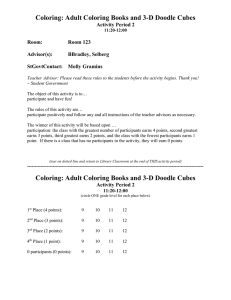 Coloring: Adult Coloring Books and 3-D Doodle Cubes Activity Period 2  Room: