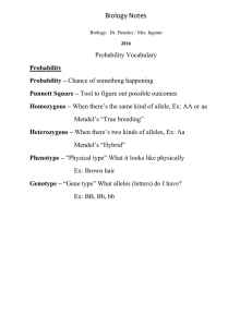 "Biology Notes Probability Vocabulary Mendel's ""True breeding"""