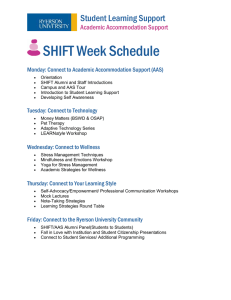 SHIFT Week Schedule Student Learning Support  Academic Accommodation Support