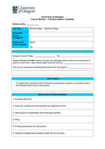 University of Glasgow – Job Description Template Casual Worker