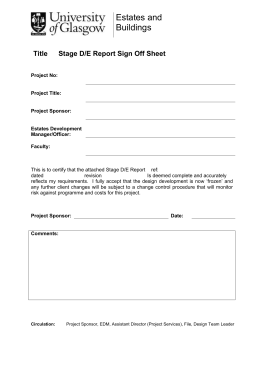 Estates and Buildings Title Stage D/E Report Sign Off Sheet