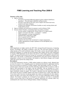 FIMS Learning and Teaching Plan 2008-9  Summary of Key aims