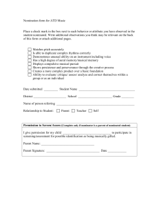 Nomination form for ATD Music