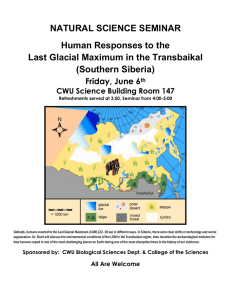 NATURAL SCIENCE SEMINAR Human Responses to the (Southern Siberia)
