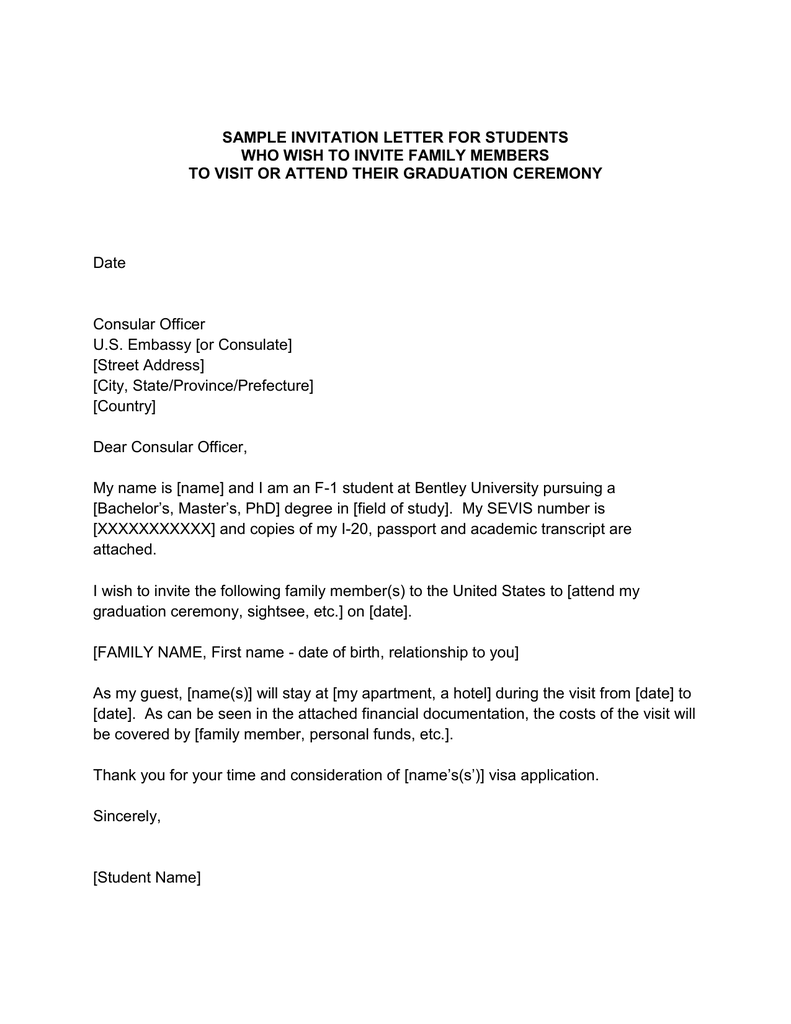 Sample Invitation Letter For Students
