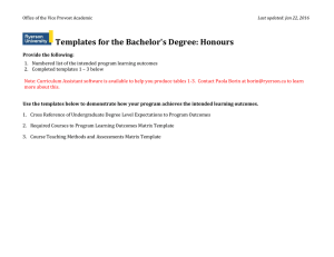 Templates for the Bachelor's Degree: Honours
