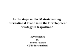 Is the stage set for Mainstreaming Strategy in Rajasthan? A Presentation