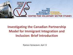 Investigating the Canadian Partnership Model for Immigrant Integration and Inclusion: Brief Introduction