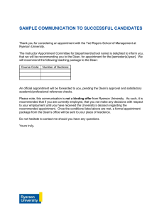 SAMPLE COMMUNICATION TO SUCCESSFUL CANDIDATES