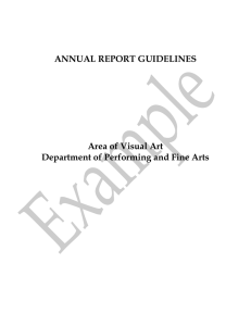 ANNUAL REPORT GUIDELINES Area of Visual Art