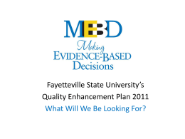 Fayetteville State University's Quality Enhancement Plan 2011