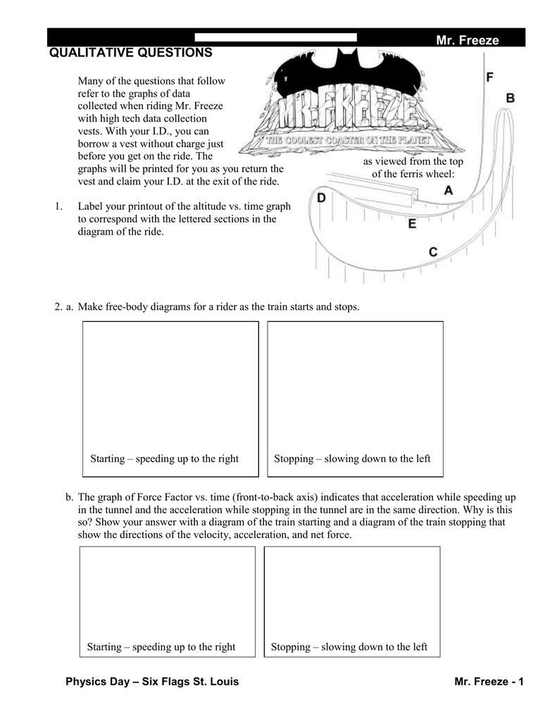 Mr Freeze Qualitative Questions Free Body Force Diagram Worksheet On Drawing Diagrams