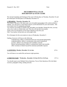 DECEMBER FINAL EXAM DESCRIPTION & STUDY GUIDE
