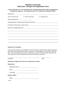 Washburn University Petty Cash / Change Fund Application Form