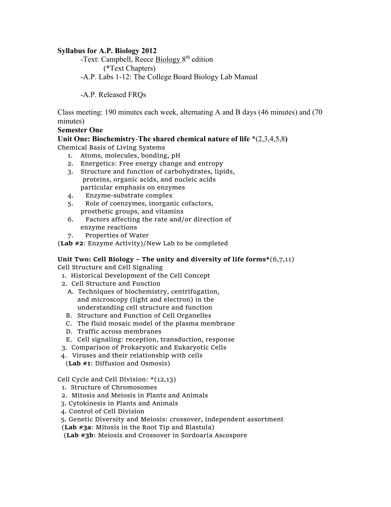 Syllabus for ap biology 2012 text campbell reece biology 8 syllabus for ap biology 2012 text campbell reece biology 8 edition text chapters fandeluxe Gallery