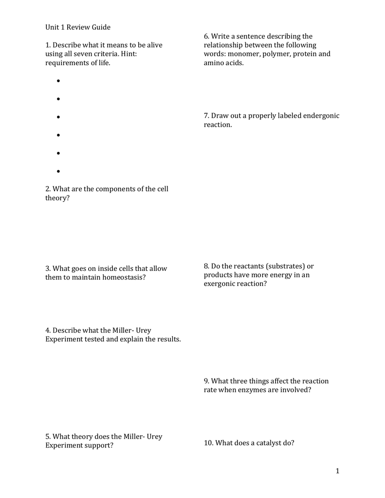 Unit 1 Review Guide 6  Write a sentence describing the