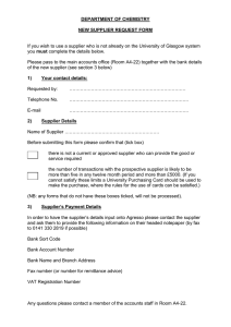 DEPARTMENT OF CHEMISTRY  NEW SUPPLIER REQUEST FORM