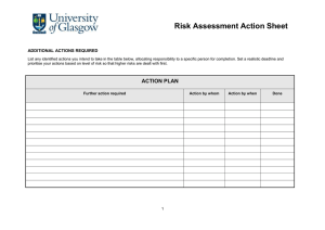 Risk Assessment Action Sheet