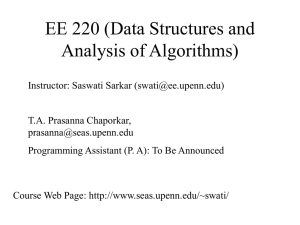 EE 220 (Data Structures and Analysis of Algorithms)