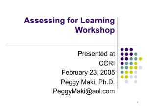Assessing for Learning Workshop Presented at CCRI