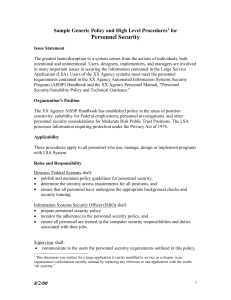 Personnel Security Sample Generic Policy and High Level Procedures for