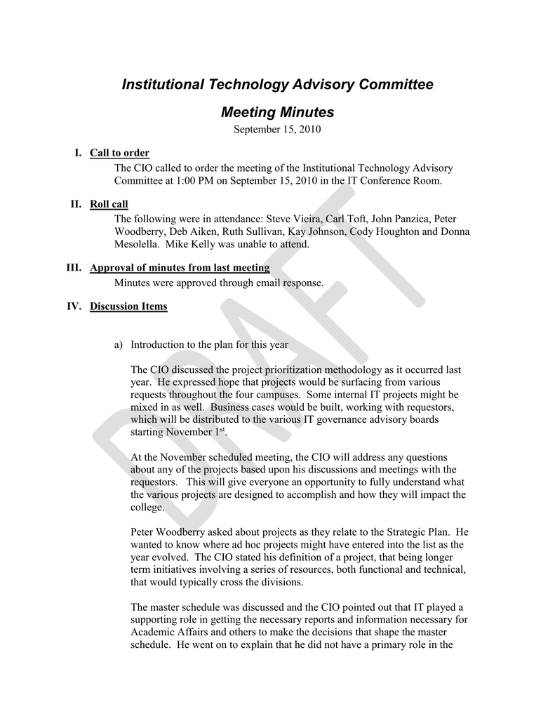 institutional technology advisory committee meeting minutes