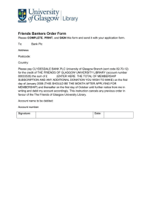 Friends Bankers Order Form
